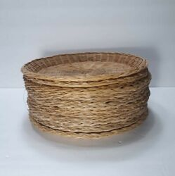 Vintage Bamboo Wicker Rattan Paper Plate Holders Lot Of 14