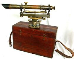 Keuffel And Esser Sight Level W Brass Gusseted Tripod Surveying Denver C.1920