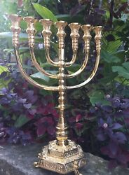 Authentic Massive Menorah Brass Copper Gold Plated Candle Holder From Jerusalem