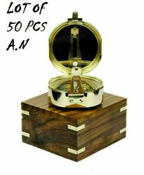 Brass Brunton Compass Nautical Polished Compass W/ Wooden Box Lot Of 50 Unit