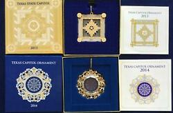 Set Of 4 Texas Capitol Annual Christmas Ornament In Box W Paperwork 2011 - 2014