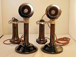 Antique Set of TWO STROMBERG CARLSON CANDLESTICK TELEPHONES in Great Condition