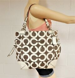 Coach 14573 #x27;Peyton#x27; Op Art Canvas and Leather Shoulder Tote F20 $62.99