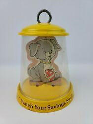Vintage Visible Character Metal Coin Bank Puppy Dog By Bower Inc Feed Me Well..