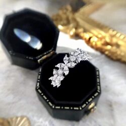 Round And Pear Diamond Flower Ladyand039s Ring Band 18k Solid White Gold 0.85ctw