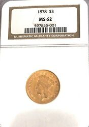 Wow______1878- Ngc Ms-62 3.00 U.s. Gold Piecesee Other Gold.