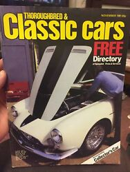 Thoroughbred And Classic Cars Magazine - November 1981. Collectors Car