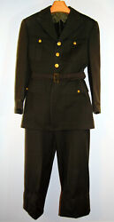 Vtg Orig Wwii Us Army Officers Class A Dress Uniform Wool Jacket Tunic And Slacks