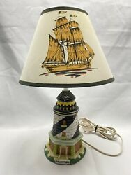 Vintage 14 Inch Cape Hatteras Lighthouse And Ship Shade Lamp