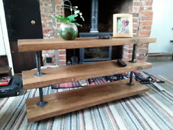Floor Standing Shelving Unit | Solid Wood | Industrial Pipe Style