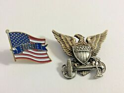Vintage Ww2 Pins - Naval Officer Gold And Sterling Eagle Shield Anchor And Uso Flag