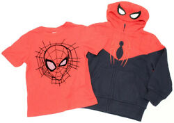 Marvel Spiderman Boys Shirt amp; Full Zip Sweater Size 4T Red Navy