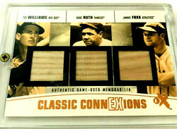 Babe Ruth And Jimmy Foxx And Ted Williams / 3 Bat Relics / Short Print  9 / 13