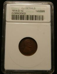1914 D Lincoln Wheat Cent Penny Anacs Au Detail Corroded - Old Holder