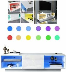 Tv Stand High-gloss 7-color Led Lighting Tv Cabinet Consoles With Storagedrawer