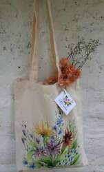 Cotton Tote Girls Woman Hand bag Hand Painted Flower Style $11.49