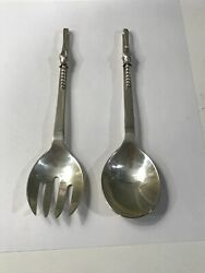 Rare Sanborns Mexico Rrr Blossom Pattern Sterling Serving Fork And Spoon