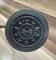 Antique Rare Cast Iron Waffle Pizzelle Maker Griddle Hinged Great Shape