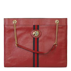 Red Aged Calfskin Leather Web Large Rajah Tote Hb3711