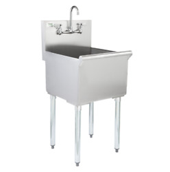 Commercial Utility Sink Bowl Prep 18x18x13 Stainless Steel 8 Faucet Centers