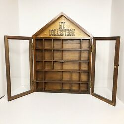 "Vintage Enesco ""My Collection"" Hanging Display Case w Glass Doors Curio Cabinet"
