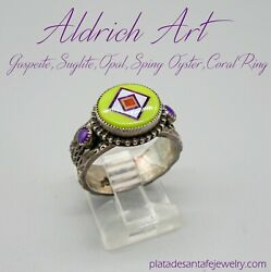 Famed Sw Artisans-valerie And Benny Aldrich-micro Mosaic Inlaid Gaspeite Ring