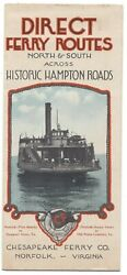 1930s Linen Type Chesapeake Ferry Co. Pictorial Map And Brochure- Norfolk, Va
