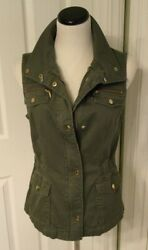 Inc International Concepts Cool Army Green/olive Drab Multi Pocket Vest Sz M Euc