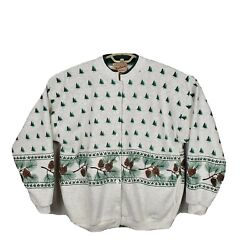 Vintage Woolrich Christmas Sweat Shirt Pine Tree Pine Cones White Made In Usa