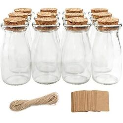 Cucumi 12pcs 4 X Inches Small Glass Favor Jars Milk Bottles With Cork Lids And