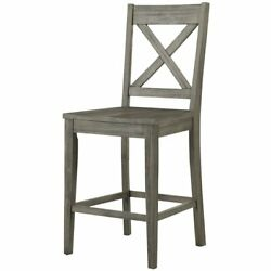 A-america Huron 24 Solid Wood X-back Counter Stool In Distressed Gray