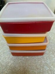 4 Vtg Tupperware 670 Square Away Sandwich Keeper Container And Lids Harvest Colors