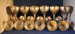12 Signed Leonard Epns Goblets Tall Stems Electroplated Nickel Silver