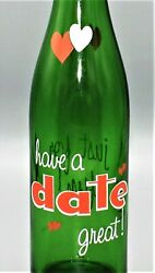 4563extremely Rare Vtg 60s Green Glass Heart Acl Have A Great Date Soda Bottle