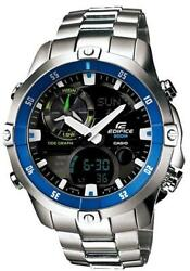 Casio Edifice Ema-100d-1a2 Led Thermometer Quartz Stainless Steel Menand039s Watch