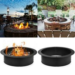 36 Inch Round Steel Fire Pit Ring Liner For Ground Outdoor Backyard Wood