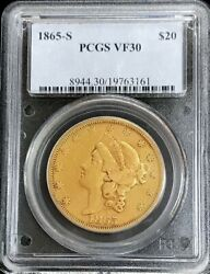 1865 S Gold United States 20 Liberty Double Eagle Type 1 Coin Pcgs Very Fine 30