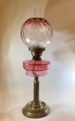Antique Cranberry Glass Oil Lamp Brass Column Base Moulded Cranberry Glass Shade