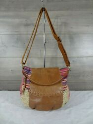 The Sak Brown Leather Canvas Straw Crossbody Shoulder Bag Tote Purse $25.00
