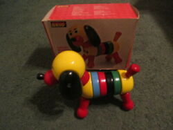 Rare Vintage 1970and039s Brio Puck 31727 Wooden Stacking Dog Toy W/original Box