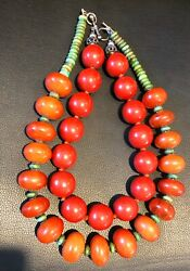 Lot African Phenolic Amber Copal Turquoise Bead 925 Silver Necklace 28 Wood 21