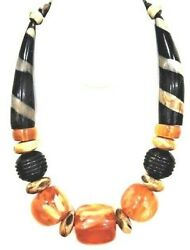 African Phenolic Amber Copal Beaded Necklace Hand Carved Horn 20 1 Beads