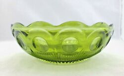 Vintage Forest Green Depression Glass Serving Bowl Dish Scalloped Edges Thumb