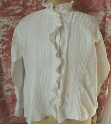 Antique French Pure Cotton Victorian Blouse White Work Frill Pin Tucks