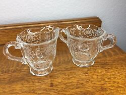 Fostoria Navarre Clear Etched Glass Creamer And Open Sugar Bowl Set Nice 🖤 R