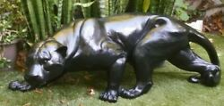 Panther Life Size Statue Signed By Artist Vintage Rare Find