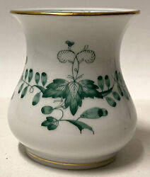 Meissen Hand Painted Green Indian Painting/flowers Porcelain Toothpick Holder