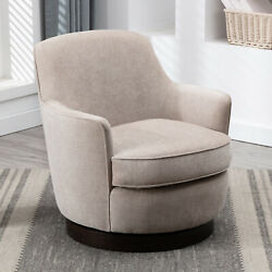 Wood Base Modern Swivel Accent Chair Barrel Chair For Living Room Leisure Chair