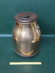 Antique Rare Form Copper Tin Lined Milk / Cream Dairy Container With Iron Base
