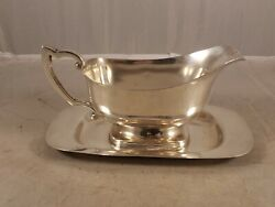 Vintage M Fred Hirsch Sterling Silver Gravy Boat And Under Plate 028 466 Grams